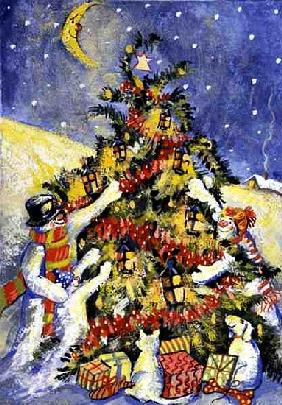 Snowmen Decorating the Christmas Tree, 1999 (gouache on paper)