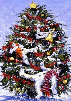 Snowmen in a Christmas Tree, 1999 (gouache on paper)