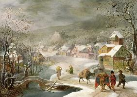 A Winter Landscape with Travellers on a Path