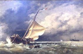 A Dutch Beurtman aground on the Terschelling Sands or In the North Sea after a Snowstorm 1865