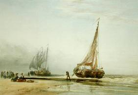 Dutch Fishing Boats on the Beach with Groups of Fisherfolk 1856  on