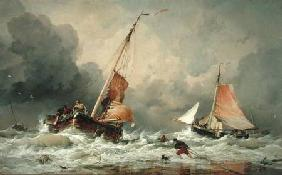 Dutch Pincks arriving and preparing to put to sea on the return of the tide 1856