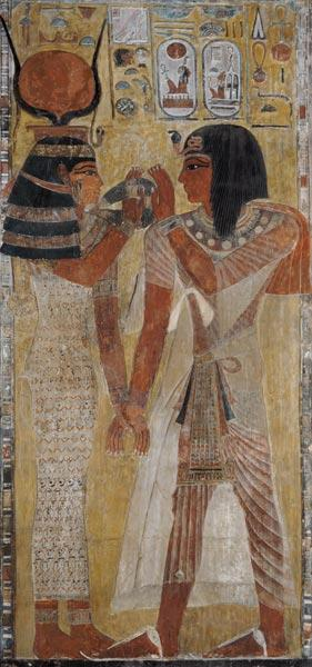 The Goddess Hathor placing the magic collar on Seti I (c.1394-1279 BC), taken from the Tomb of Seti