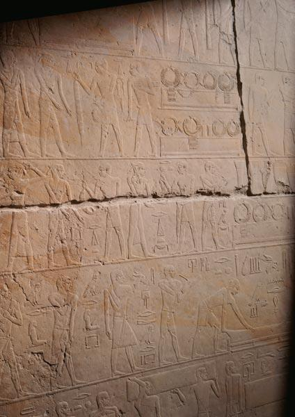 Relief from the Mastaba of Akhethotep depicting the replacement of the necklaces, from Saqqara, Old