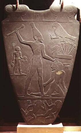 The Narmer Palette: ceremonial palette depicting King Narmer, wearing the white crown of Upper Egypt c.3000 BC