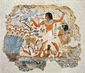 Nebamun hunting in the marshes with his wife an daughter, part of a wall painting from the tomb-chap c.1350 BC
