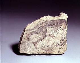 Ostracon with a figure of a monkey playing a flute, New Kingdom