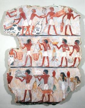 Scene of butchers and servants bringing offerings, from the Tomb of Onsou c.1375 BC