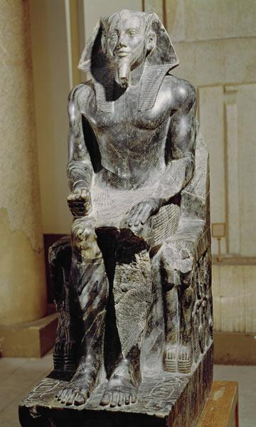 Statue of Khafre (2520-2494 BC) enthroned, from the Valley Temple of the Pyramid of Khafre at Giza, c.2540-250