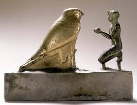 Statue of King Taharqa worshipping the falcon-god Hemen, Egyptian, Third Intermediate Period (gold,