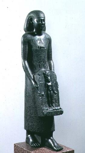 Statue of Padimahes, priest of Bastet, with magical texts for healing, 30th Dynasty or early Ptolema 380-c.300