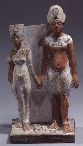 Statuette of Amenophis IV (Akhenaten) and Nefertiti, from Tell el-Amarna, Amarna Period, New Kingdom 1353-1337