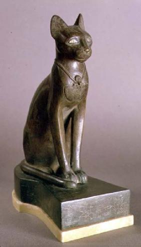 Statuette of a cat representing the goddess Bastet, bearing the cartouche of Psamtek I, Saite Period c.664-610