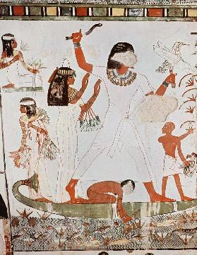 Fishing and fowling in the marshes, detail from the Tomb Chapel of Menna, New Kingdom