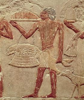 Relief depicting a porter with a basket of fledglings, from the Tomb of Princess Idut, Old Kingdom c.2330 BC
