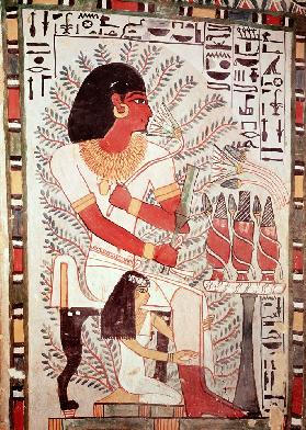 Sennefer seated with his wife, Meryt, from the Tomb of Sennefer, New Kingdom