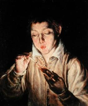 A Child Blowing on an Ember early 1570