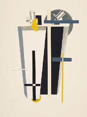 Abstract composition in grey, yellow and black (litho) 18th