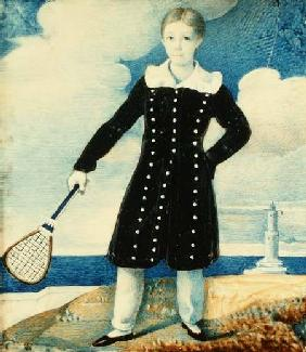 Boy with Badminton Racket (w/c on card)