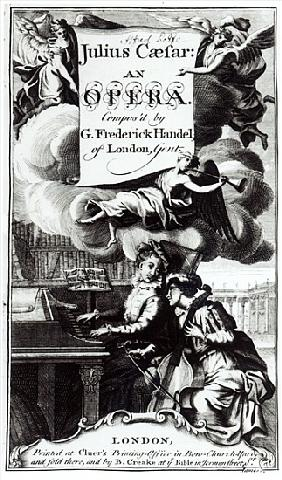 Cover of Sheet Music for Julius Caesar, an Opera Handel, published in 1724