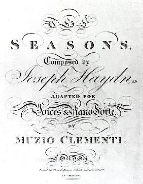 Cover of the score sheet of ''Seasons'' Joseph Haydn (1732-1809)