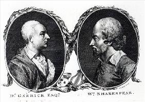 David Garrick and Shakespeare; engraved by J. Miller