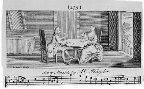 Illustration to Sheet Music Joseph Haydn; engraved by H. Roberts