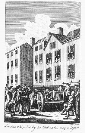 Jonathan Wild pelted the mob on his way to Tyburn, from the ''Newgate Calendar''