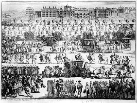 King George I procession to St. James''s Palace, 20th September 1714; engraved by Abraham Allard