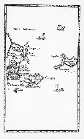 Map of Laputa, Balnibari, Luggnagg, Glubbdubdrib and Japan, illustration from the first edition of '
