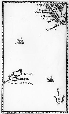 Map of Lilliput and Blefuscu, from the first edition of ''Gulliver''s Travels'' Jonathan Swift