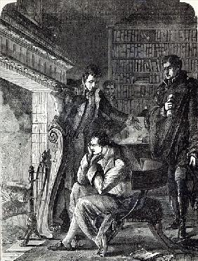 Napoleon brooding the fire the night before his Abdication and Departure from Fontainebleau on 20th