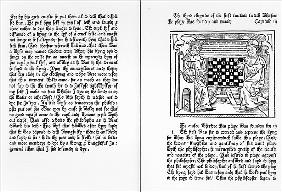 Pages from the English translation of ''De Ludo Saccorum'' Jacques de Cessoles, including an illustr