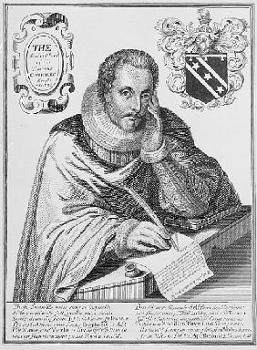 Portrait of Sir Thomas Overbury (1581-1613) writing out his epitaph; engraved by Renold Elstrack (15