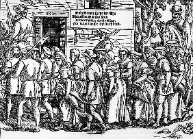 Protestants, roped together, being led to London for trial, from ''Acts and Monuments'' John Foxe (1