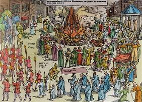 The Burning of the Remains of Martin Bucer (1491-1551) and Paul Fagius (1504-49) on Market Hill in C