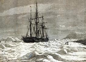 The North Pole Expedition: The Alert nipped the ice against the shore off Cape Beechy, from ''The Il