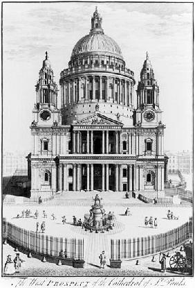 The West Prospect of St. Paul''s Cathedral; engraved by R. Parr (fl.1723-50)