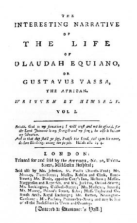 Title page to ''The Interesting Narrative of the Life of Olaudah Equiano, or Gustavus Vassa, the Afr