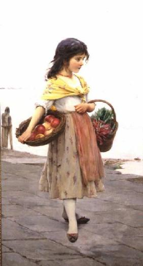 Young Girl Selling Fruits and Vegetables