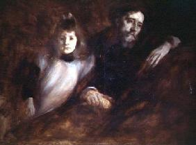 Portrait of Alphonse Daudet (1840-97) and his daughter Edmee 1891