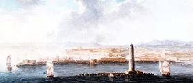 A View of a Port from the Sea, probably Livorno (pen, brown