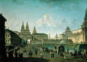 View of the Voskresensky and Nikolsky Gates and the Neglinny Bridge from Tverskay Street in Moscow 1811