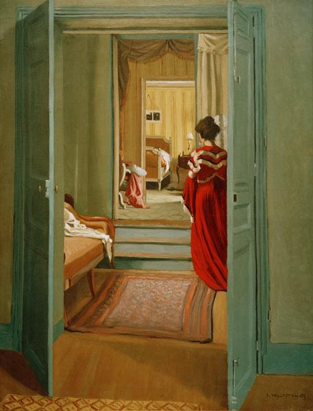 F.Vallotton / Interior with woman in red