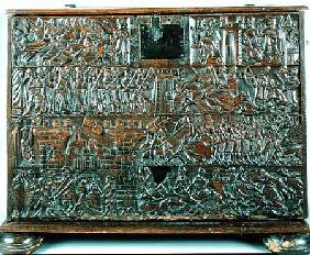 The Courtrai Chest depicting scenes from the Battle of the Golden Spurs fought in Courtrai in 1302