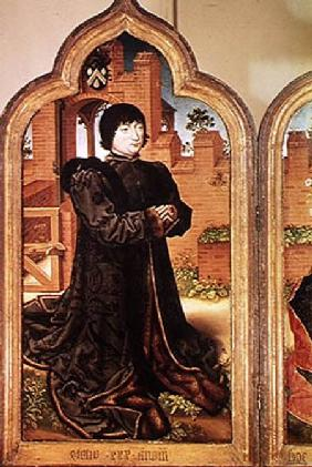 Triptych of Jean de Witte, left hand panel depicting Jean de Witte 1473