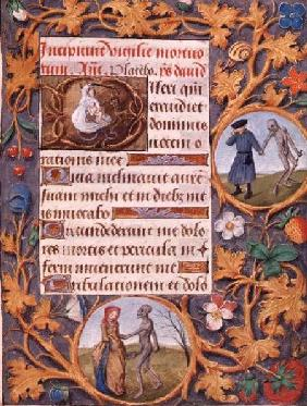 The Triumph of Death: text with historiated capital depicting the devil fighting an angel, with a fl