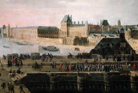 View of the Pont-Neuf and the River Seine looking downstream, detail of the bridge and the Louvre c.1633