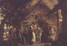 Villagers Merrymaking outside a Farmhouse 1785