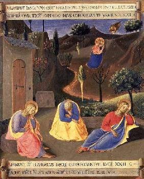 The Agony in the Garden, detail from panel three of the Silver Treasury of Santissima Annunziata c.1450-53